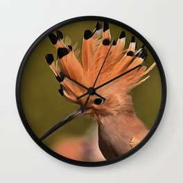 Beautiful Hoopoe Bird With Crown Of Feathers Wall Clock