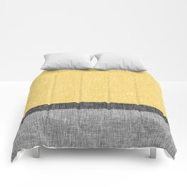 Yellow Grey and Black Section Stripe and Graphic Burlap Print Comforters