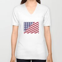 american flag V-neck T-shirts featuring American Flag by Mychal Diaz