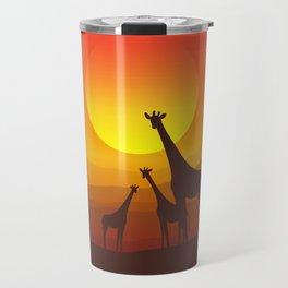 Giraffe Family Sunset Travel Mug