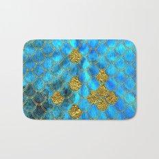 Blue aqua turquoise and gold glitter mermaid scales - Beautiful mermaidscales pattern on #Society6 Bath Mat