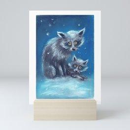 Spooky Snow Dogs Mini Art Print