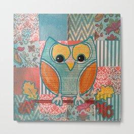 Blue Folk Owl Metal Print
