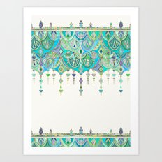 Art Deco Double Drop in Jade and Aquamarine on Cream Art Print