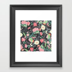 Pastel preppy hand drawn garden flowers chalkboard Framed Art Print