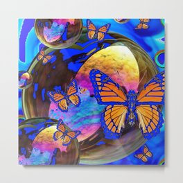 SURREAL BLUE  MONARCH BUTTERFLIES & IRIDESCENT BUBBLES  ART Metal Print