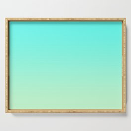 Pastel Mint Green Blue Teal Ombre Gradient Pattern Soft Spring Summer Texture Serving Tray