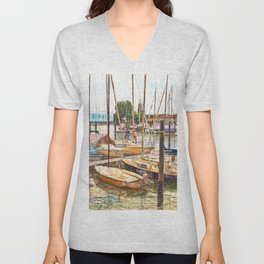 End of the sailing day in Lindau, Germany Unisex V-Neck