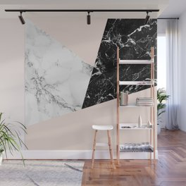Black white marble blush pink color block Wall Mural