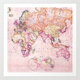Vintage Map Pattern Art Print