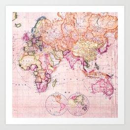 Vintage Map Pattern Art Print