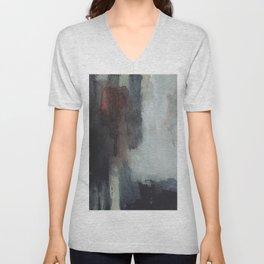 Black brown abstract  Unisex V-Neck