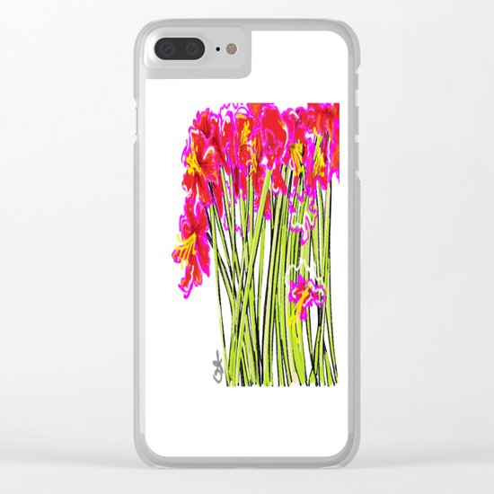 Red Flowers again, Hybiscus Clear iPhone Case