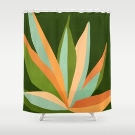 Colorful Agave / Painted Cactus Illustration Shower Curtain