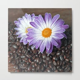 COFFEE with VIOLET DAISY Metal Print