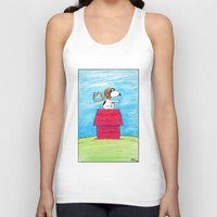 snoopy Tank Tops featuring pilot Snoopy by DROIDMONKEY