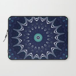 Navy Blue Teal Mandala Design Laptop Sleeve