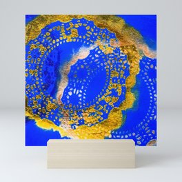 Royal Blue and Gold Abstract Lace Design Mini Art Print