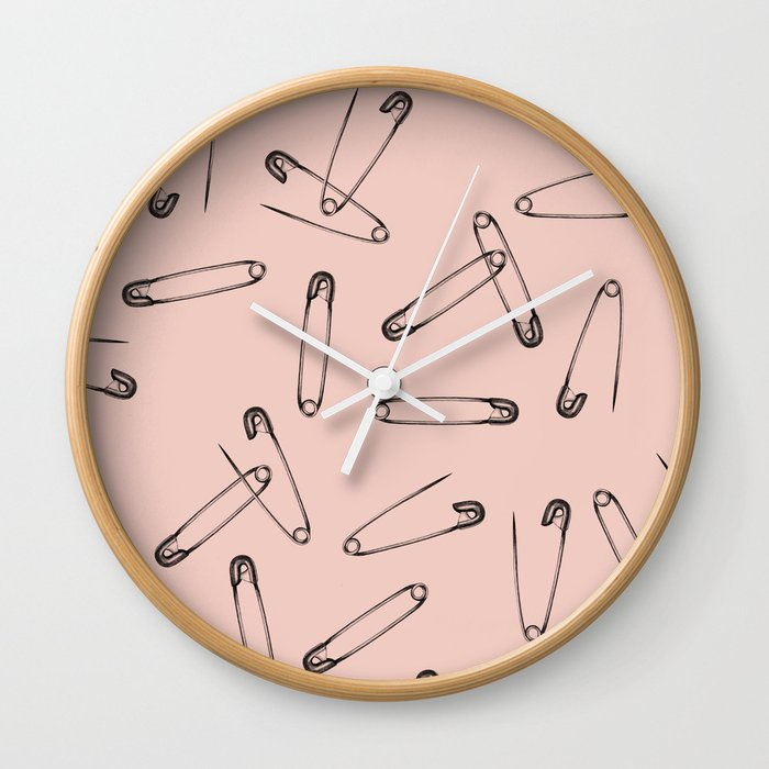 Pink safety pin Wall Clock by smalldrawing | Society6