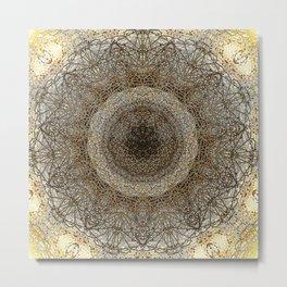 Warm Vintage Mandala Design Metal Print