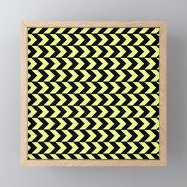 Graphic Geometric Pattern Minimal 2 Tone Arrow Triangles (Neon Yellow & Black) Framed Mini Art Print