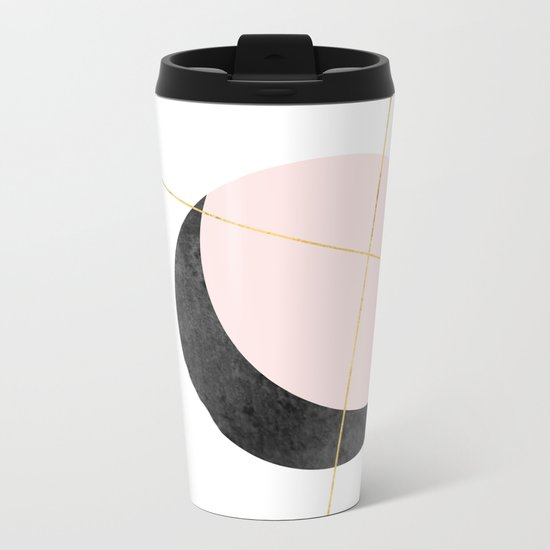 Pink Moon, Contemplation, Full Moon, Faux Gold Lines, Pink Black White Metal Travel Mug
