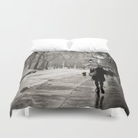 new york city Duvet Covers featuring New York City - Rain by Vivienne Gucwa