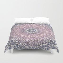 gray pink mandala Duvet Cover