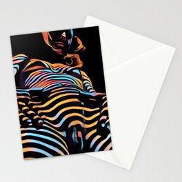 1731s-AK Striped Vulval Portrait Zebra Woman Power Pose by Chris Maher Stationery Cards