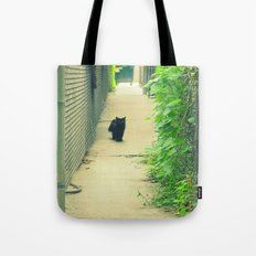 Black Cat With Gangway Ivy  Tote Bag