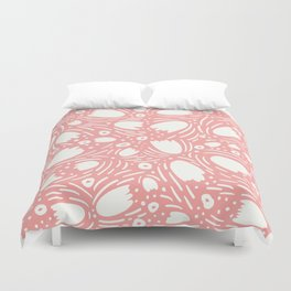 Floral Reverie in Coral Duvet Cover