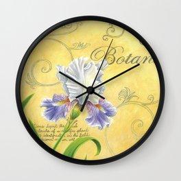 Purple and White Iris Wall Clock