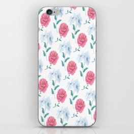 DAISY AND ROSE SEAMLESS PATTERN WHITE iPhone Skin