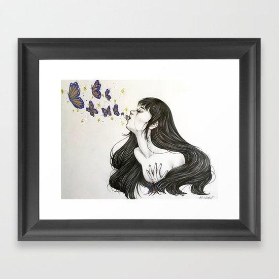 Blowing butterflies Framed Art Print