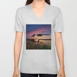 Sunset Take-off - Gull Painted with Sunset Colors Unisex V-Neck