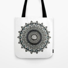 Black and White Flower Mandala with Blue Jewels Tote Bag