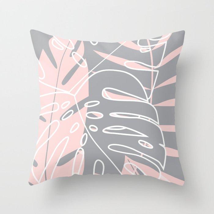 Minimal tropical leaves pink pattern Throw Pillow