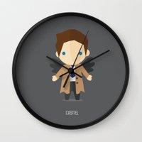 castiel Wall Clocks featuring Castiel  by TirzahDesigns