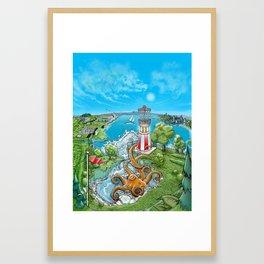 Disc Golf - Lake Monster Framed Art Print