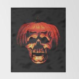 Halloween II Pumpkin Skull Stained Glass Throw Blanket