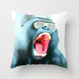 Gorilla with Shutter Shades Throw Pillow