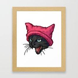 The Cat in the Hat (Black) Framed Art Print