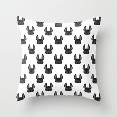 Black Frenchie Pattern Throw Pillow