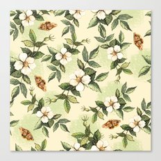 Delicate pattern with flowers and butterflies hips Canvas Print