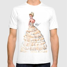 Fashion Watercolor Couture Gown MEDIUM White Mens Fitted Tee