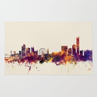 manchester Area & Throw Rugs featuring Manchester England Skyline by artPause