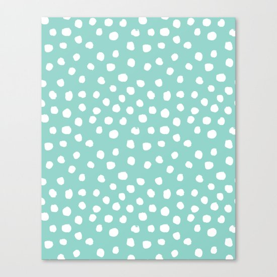 Minty mini painted dots polka dots mint pastel dotty trendy gender neutral must have dorm college  Canvas Print