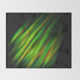 Colorful neon green brush strokes on dark gray Throw Blanket