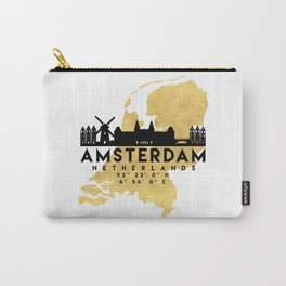 AMSTERDAM NETHERLANDS SILHOUETTE SKYLINE MAP ART Carry-All Pouch