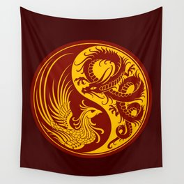 Yellow and Red Dragon Phoenix Yin Yang Wall Tapestry
